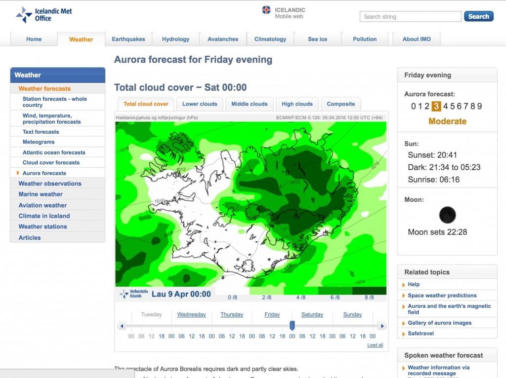 Immagini del sito meteo vedur.is